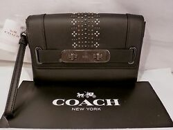 NWT COACH BLACK LEATHER SWAGGER CLUTCH with BANDANA RIVETS WRISTLET BAG 55834