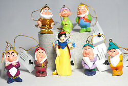Snow White And Seven Dwarfs - Set Of Eight Figures - Disney - Holiday Ornaments