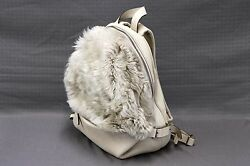 NWT$3095 Brunello Cucinelli 100% Plush Fur & Leather Combo Logo Stamped Backpack