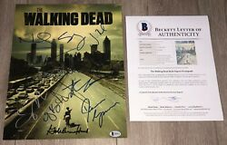 The Walking Dead Cast Signed 11x14 Photo Andrew Lincoln +12 And Beckett Bas Loa