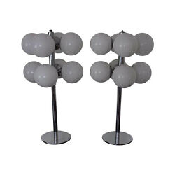 Pair Of 20th Century Table Lamps By Lightolier Crystal Globes And Steel