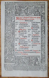Book of Hours Leaf Hardouin Woodcut Border Calendar July August 1510