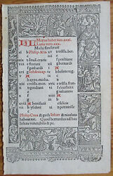 Book of Hours Leaf Hardouin Woodcut Border Calendar May June 1510