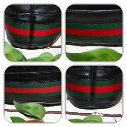 👛COUTURE GUCCI BLACK LEATHER WEB STRIPE BUCKETBOOKDRAWSTRING BAG!👛