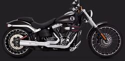 Vance & Hines HI Output 2 into 1 Short Exhaust System Chrome for Harley 2008-17