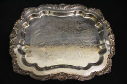 Vintage Silverplate Epca Poole Silver Shell Pattern 403 Footed 14 Tray, Usa
