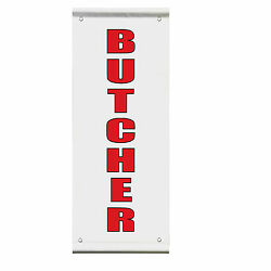 Butcher Meat Market Business Advertisement Double Sided Pole Banner Sign