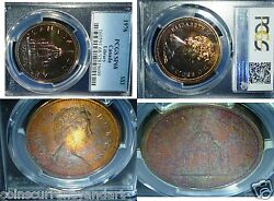 1976 Silver Canada Dollar Library Pcgs Sp68 Multi Colour Toned