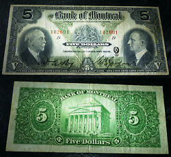 1931 5 Bank Of Montreal ,canada Chartered Banknote- Ch-505-58-02