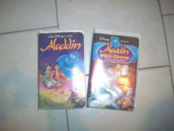 Lot Of 2 1993 Disney Aladdin And King Of Thieves Vhs Tape Black Diamond Classic