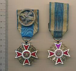 Old Royal Romania Order Romanian Crown Medal Ww Ii 2 Knight And Officer 1881 1932