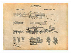 1919 B.a.r. Browning Automatic Rifle Patent Print Art Drawing Poster