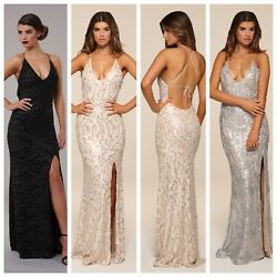 Honor Gold Gia Sequin Maxi Evening Dress Backless Tie Design Long Ball Prom Gown