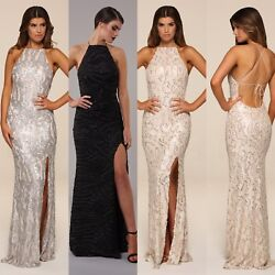 Honor Gold Harley Sequin Maxi Evening Dress Backless Design Long Ball Prom Gown