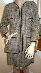 Boutique 1990s Iconic Taupe Confetti Tweed Skirt Suit Eu Size 38