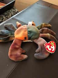 Ty Beanie Baby Claude The Crab, Many Tag Errors, All Caps Claude Retired