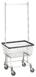 Commercial Wire Laundry Basket Cart W/hanger Rack New
