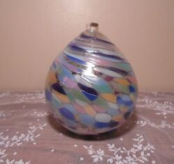 Blown Glass Oil Lamp Soft Colors Whimsical Home Decor Spiritual Decorating