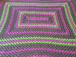 Brown/pink/lime Green Blanket/throw/afghan. 52 L X 45 W. Hand Crocheted.