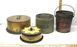 4 Pc Vintage Collectible Tins Red Brand Pure Lard Bucket+flour Tin+cake Covers