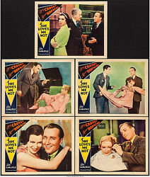 Movie Posters She Loves Me Not 1934 5 Lobby Cards 11x14 Vf 7.5 Bing Crosby
