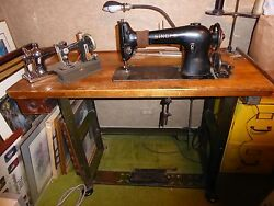 Antique Singer Sewing Machine And Work Bench