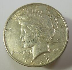 1922-p Vam 1a Line In Tiara Silver Liberty Peace Dollar 1 Us Coin Item 10421