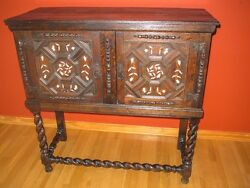 Sale 500 Price Drop Antique English Oak Cabinet On Stand