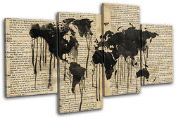 World Atlas Ink Old Vintage Maps Flags Multi Canvas Wall Art Picture Print