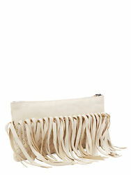 NWT AUTHENTIC BOTTEGA VENETA LARGE FRINGE CLUTCH WRISTLET - OFF WHITE