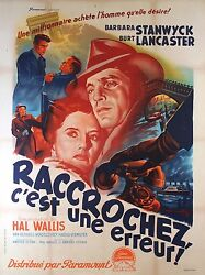 Sorry Wrong Number - Original French Poster - Very Rare