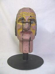 Antique Carnival Amusement Game Charlieand039s Hat Folk Art Carved Wooden Head