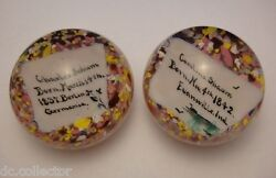 Pair Antique 1900and039s Frit Glass Paperweights-evansville Indiana-germany Immigrant