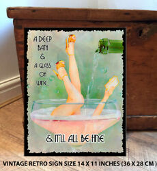 Wine Bath Pin Up Humour Retro Vintage Shabby Chic Metal Wall Sign Plaque Rs47