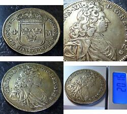 Sweden 4 Mark Krone 1692,silver Coin Of King Charles Xi