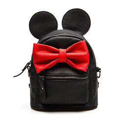 New Leather Mini Bag for Girls Cute Small Backpack School Bow Teenagers Kids