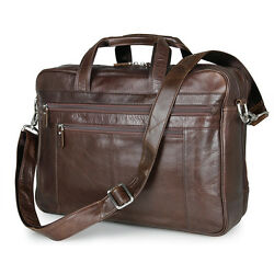 Genuine Leather Briefcase Handbag Business Laptop Bag Travel Shoulder Bag Men's