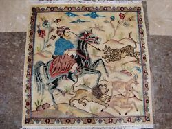 New Hunting King Lion Deer Tiger Horse Hand Knotted Wool Silk Rug Carpet 3' X 3'