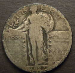 1927-s Standing Liberty Quarter Ag-g/ag+ Nicely Toned-see Description