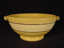 Very Rare 1800s Two Handle 12 Band Bowl Jeffords Yellow Ware Mint