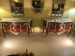 Palatial of Pair 18th-19th Century King and Queen Compatible Marble-Top Commode