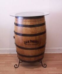 Jack Daniels Branded And Engraved Whiskey Barrel C/30 Glass Top-stand