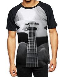Abstract Acoustic Guitar Black And White Menand039s All Over Print Baseball T Shirt