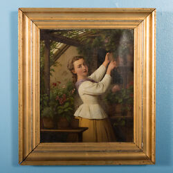 Signed Original Antique Oil Painting Woman In A Greenhouse