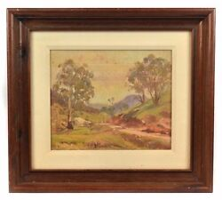James George Wilmot Oil On Canvas Painting Of Australian Mountains And Field.