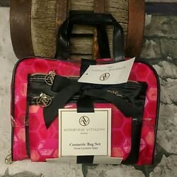 Makeup Bag Cosmetic 3 Piece Case Set Red Black Pink Adrienne Vittadini