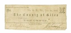 The County Of Giles 10 Cent, June 20, 1862, Virginia Note - Banknotes, Very Rare