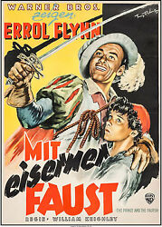 Movie Poster The And The Pauper 1951 German 23x35 Vf-7.0 Errol Flynn