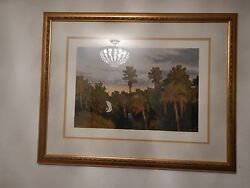 Vtg Signed 49x25 Oil Painting On Canvas Reproduction 52x29 Framed Art