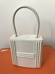 VERY RARE Vintage HERMES IVORY Cadena Lock Box Clutch Y Stamp BAG KELLY BIRKIN
